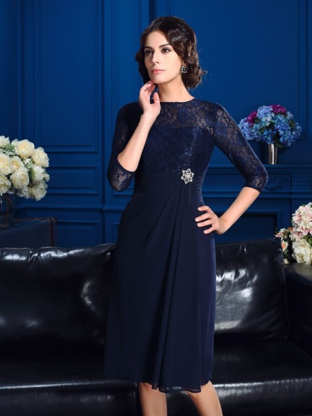 A-Line/Princess Jewel Lace 3/4 Sleeves Short Chiffon Mother of the Bride Dress