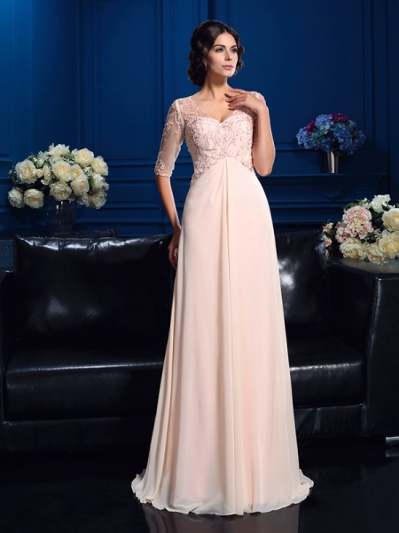A-Line/Princess V-neck Beading 1/2 Sleeves Chiffon Mother of the Bride Dress