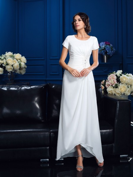 A-Line/Princess Scoop Short Sleeves High Low Chiffon Mother of the Bride Dress