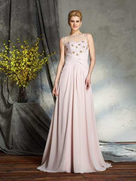 A-Line/Princess Bateau Applique Chiffon Mother of the Bride Dress