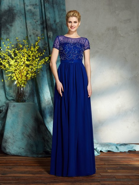 A-Line/Princess Scoop Beading Short Sleeves Chiffon Mother of the Bride Dress