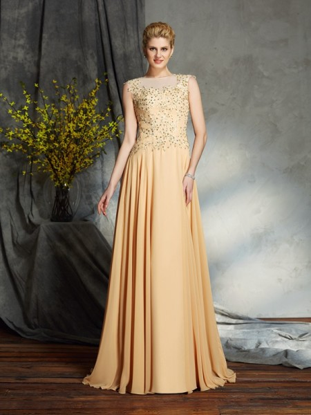 A-Line/Princess Scoop Applique Chiffon Mother of the Bride Dress