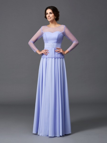 A-Line/Princess Scoop Ruffles Long Sleeves Chiffon Mother of the Bride Dress