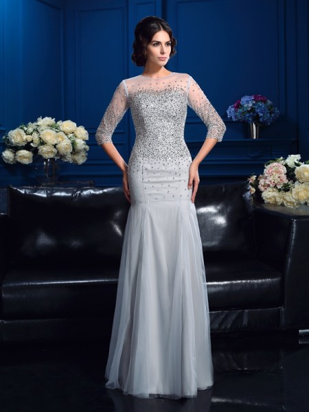Sheath/Column Scoop Beading 3/4 Sleeves Long Net Mother of the Bride Dress
