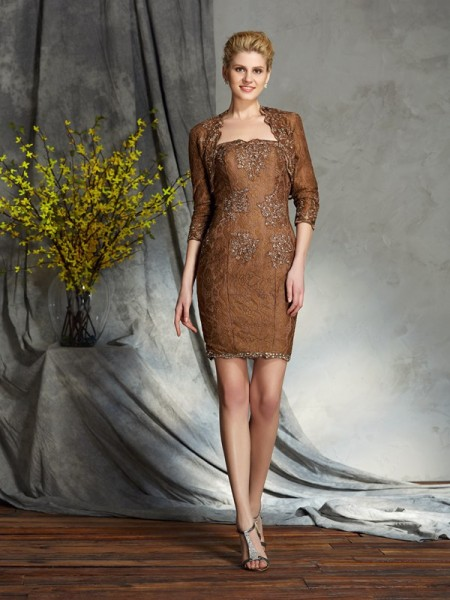 Sheath/Column Strapless Lace Short Lace Mother of the Bride Dress