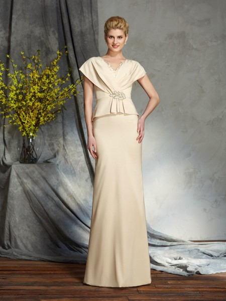 Sheath/Column V-neck Beading Short Sleeves Long Silk like Satin Mother of the Bride Dress