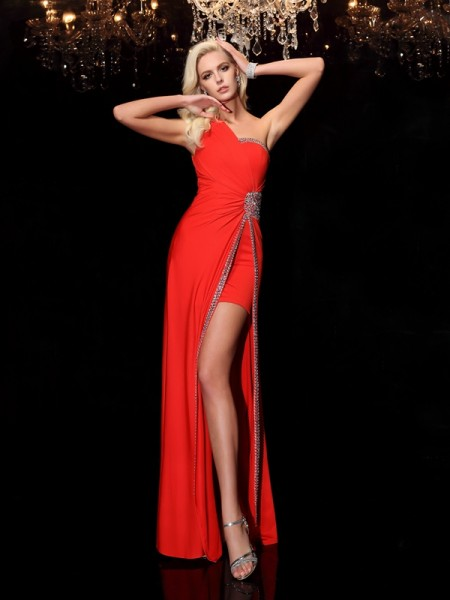 Sheath/Column One-Shoulder Beading Long Spandex Dress