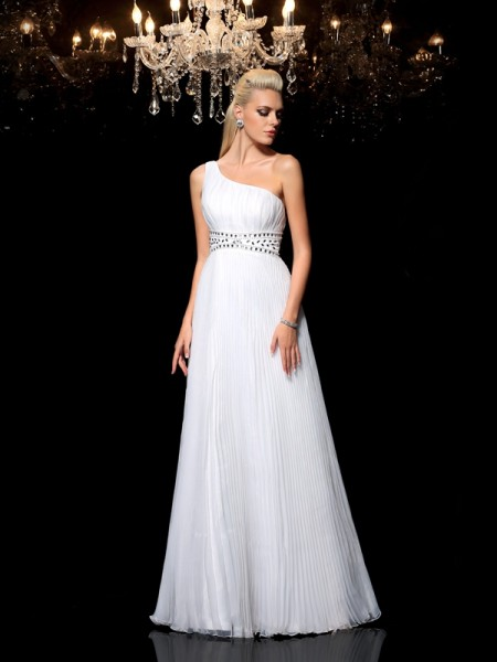 A-Line/Princess One-Shoulder Beading Long Organza Dress