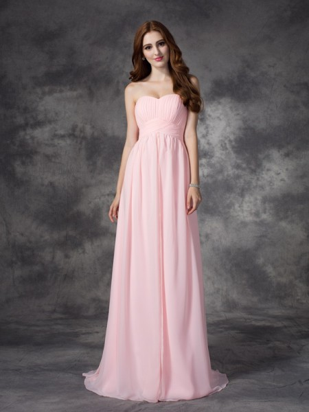 A-line/Princess Sweetheart Ruched Chiffon Dress