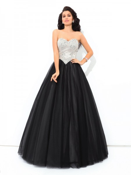 Ball Gown Sweetheart Paillette Long Net Quinceanera Dress