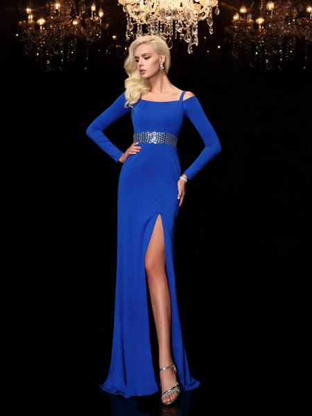 Sheath/Column Bateau Beading Long Sleeves Long Spandex Dress