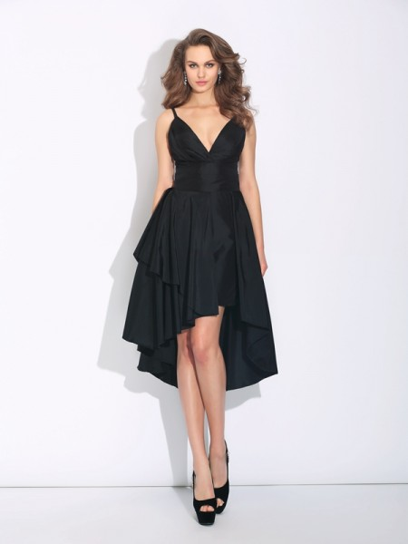 A-Line/Princess Spaghetti Straps Ruffles High Low Taffeta Dress