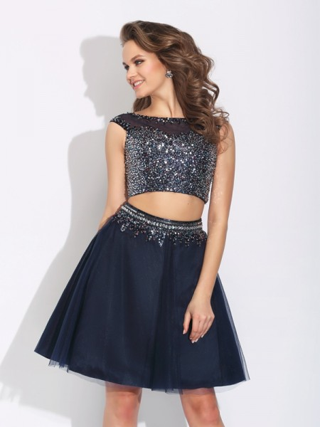 A-Line/Princess Bateau Beading Short Net Two Piece Dress