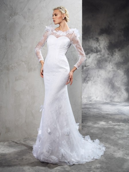 Sheath/Column Sheer Neck Long Sleeves Satin Wedding Dress