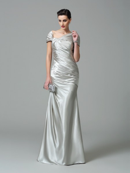 Sheath/Column Off-the-Shoulder Pleats Long Silk like Satin Dress