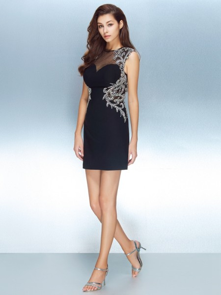Sheath/Column Jewel Net Crystal Short/Mini Dress