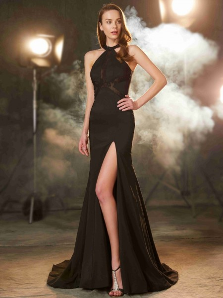 Sheath/Column Jewel Sweep/Brush Train Elastic Woven Satin Dress