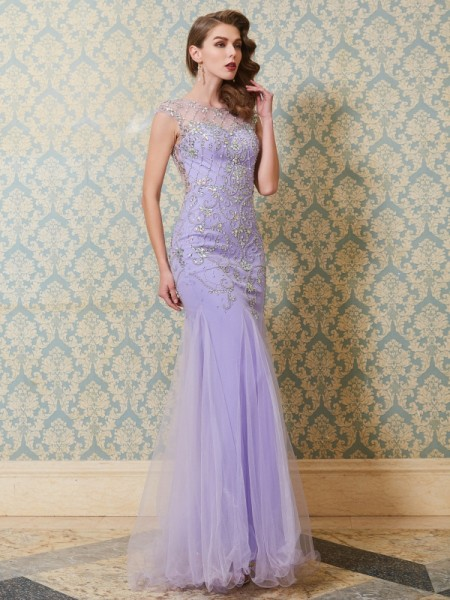 Trumpet/Mermaid Scoop Floor-length Tulle Dress