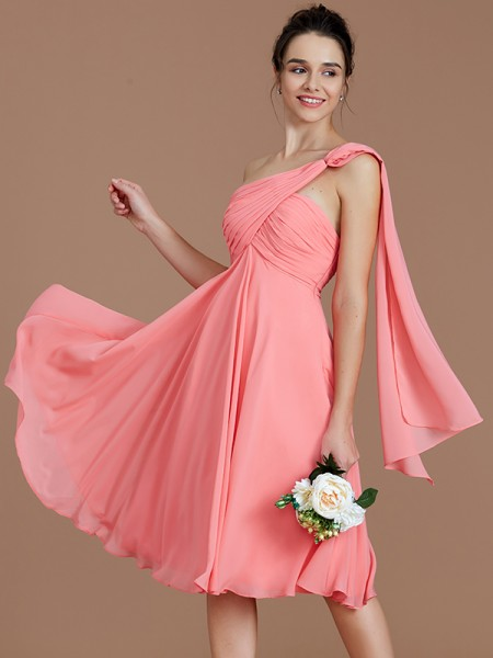 A-Line/Princess Ruched Short/Mini Chiffon Bridesmaid Dress