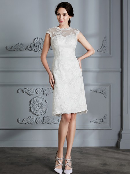 A-Line/Princess Satin Scoop Knee-Length Wedding Dresses