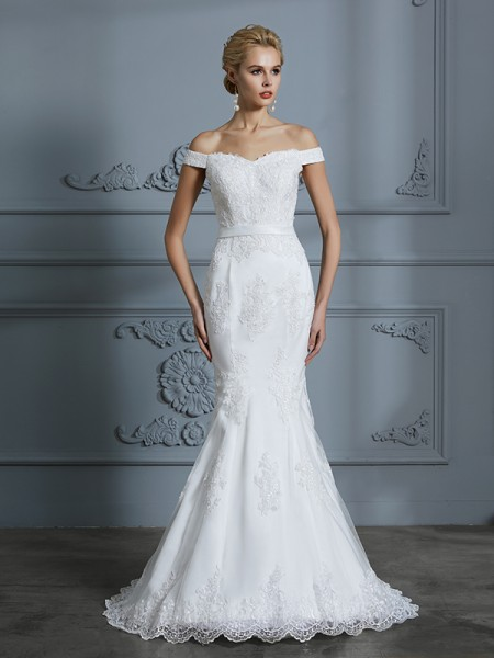 Trumpet/Mermaid Tulle Off-the-Shoulder Sweep/Brush Train Wedding Dresses