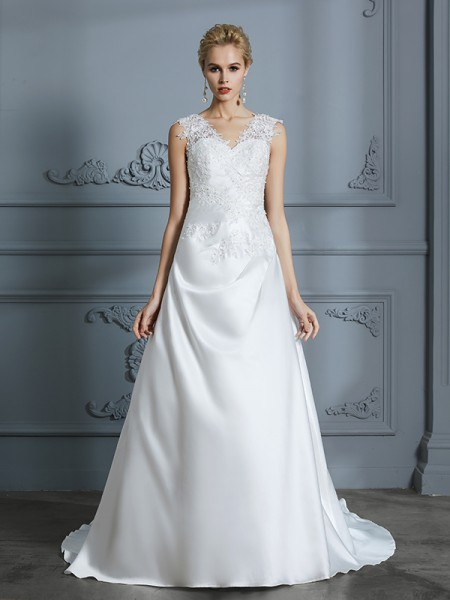 A-Line/Princess Satin V-neck Sweep/Brush Train Applique Wedding Dresses