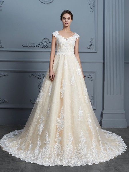 Ball Gown Sweetheart Court Train Lace Wedding Dresses