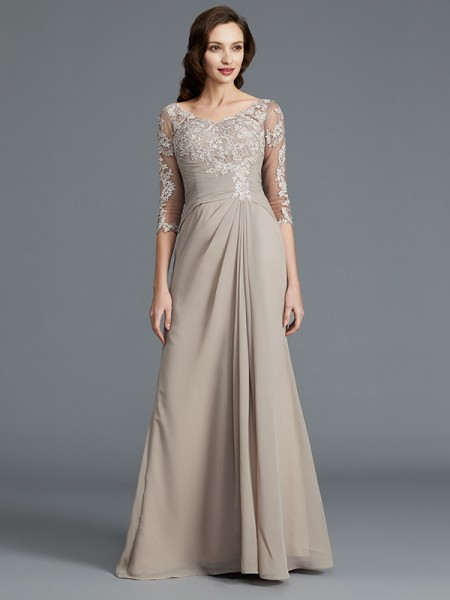 A-Line/Princess Scoop Chiffon Floor-Length Applique Mother of the Bride Dresses