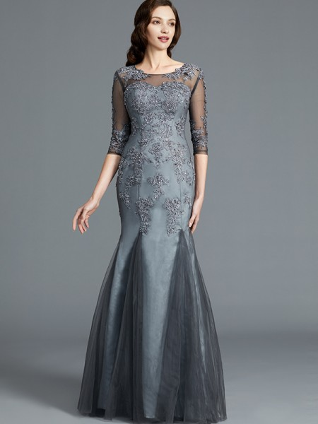 Sheath/Column Tulle Scoop Floor-Length Applique Mother of the Bride Dresses