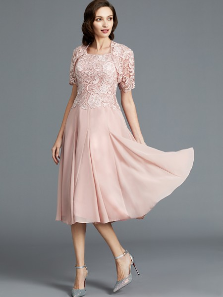 A-Line/Princess Scoop Tea-Length Chiffon Mother of the Bride Dresses