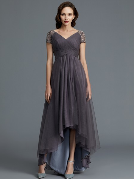 A-Line/Princess V-neck Asymmetrical Tulle Mother of the Bride Dresses