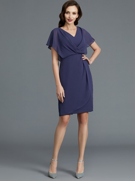 Sheath/Column Chiffon V-neck Knee-Length Mother of the Bride Dresses