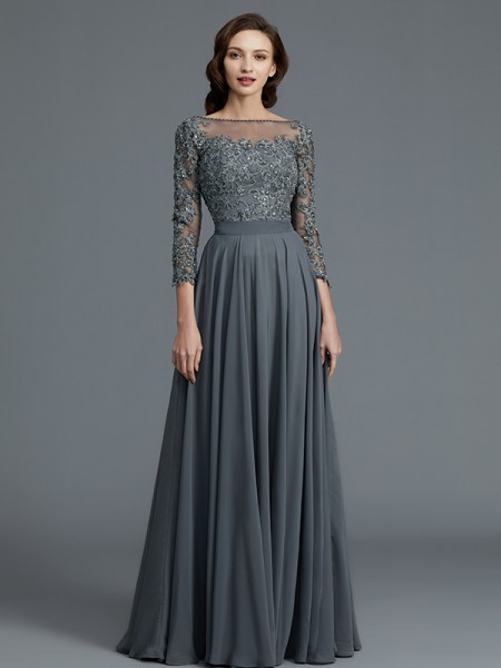 A-Line/Princess Bateau Floor-Length Chiffon Mother of the Bride Dresses