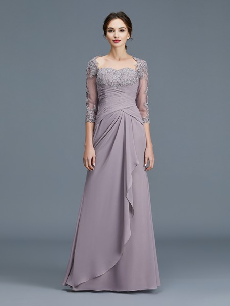 Sheath/Column Sweetheart Chiffon Floor-Length Ruffles Mother of the Bride Dresses