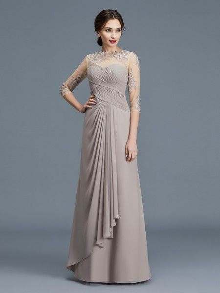 A-Line/Princess Sheer Neck Chiffon Floor-Length Ruffles Mother of the Bride Dresses