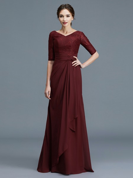 A-Line/Princess Chiffon V-neck Floor-Length Ruffles Mother of the Bride Dresses