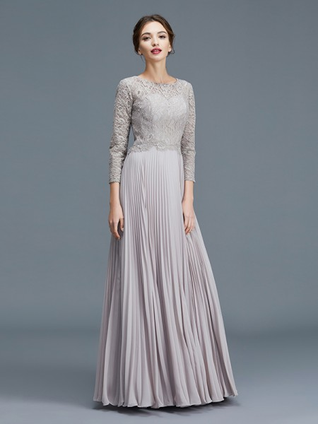 A-Line/Princess Scoop Chiffon Floor-Length Mother of the Bride Dresses