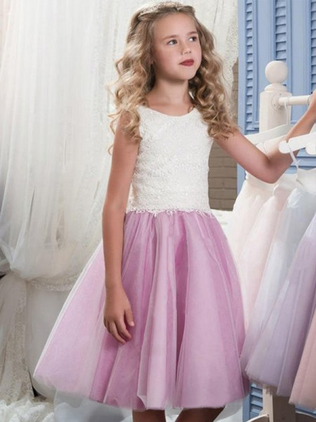 A-Line/Princess Sleeveless Scoop Knee-Length Lace Tulle Flower Girl Dress