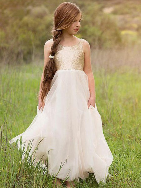 A-Line/Princess Sleeveless Scoop Long Sequin Tulle Flower Girl Dress