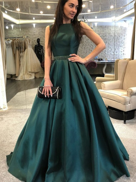 A-Line/Princess Sleeveless Bateau Sweep/Brush Train Beading Satin Dress