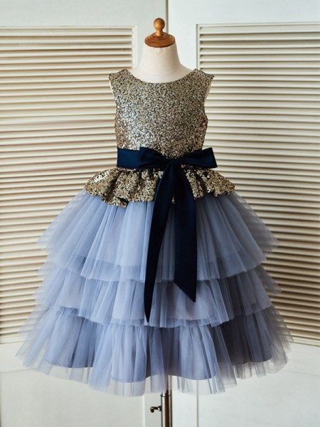 A-Line/Princess Tea-Length Scoop Sequin Sleeveless Tulle Flower Girl Dress