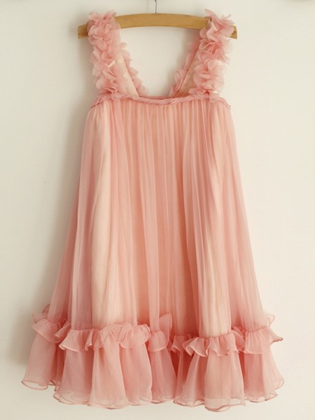 A-Line/Princess Straps Ruffles Sleeveless Chiffon Knee-Length Flower Girl Dress