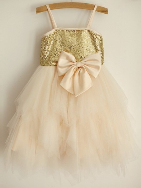A-Line/Princess Spaghetti Straps Sequin Sleeveless Tulle Knee-Length Flower Girl Dress