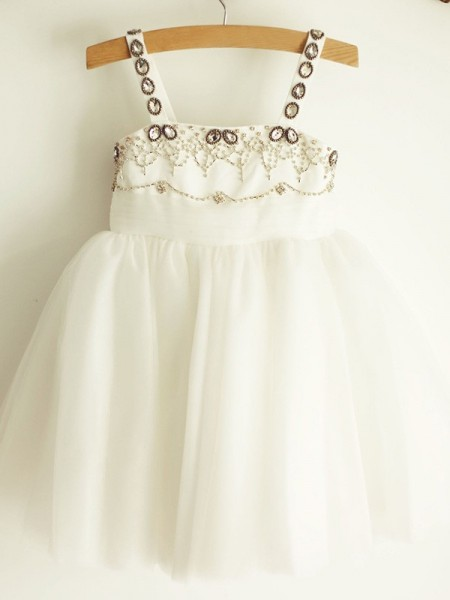 A-Line/Princess Straps Beading Sleeveless Tulle Knee-Length Flower Girl Dress