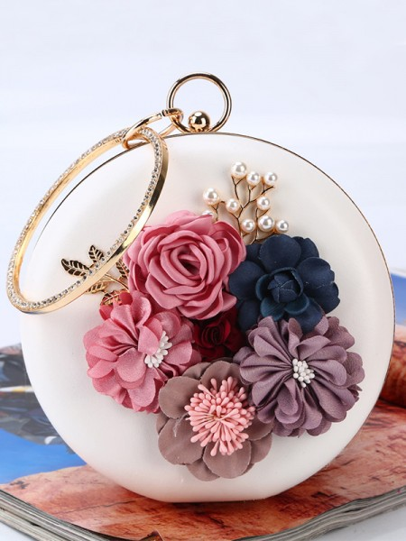 Round PU Handbags With Flowers
