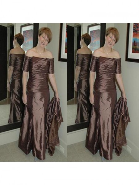 Sheath/Column Off-the-Shoulder Floor-Length Elastic Woven Satin Mother Of The Bride Dresses