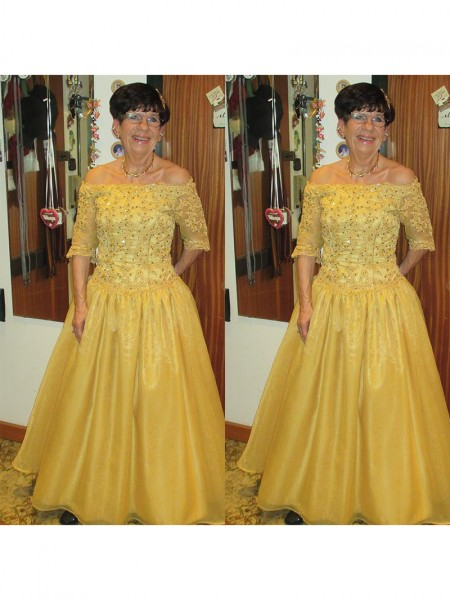 A-Line/Princess Off-the-Shoulder Floor-Length Tulle Mother Of The Bride Dresses