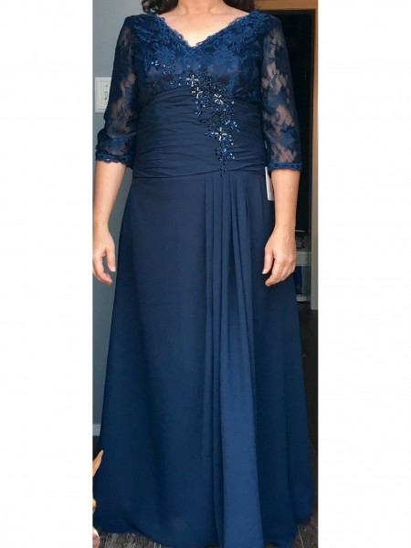 A-Line/Princess V-neck Floor-Length Chiffon Applique Mother of the Bride Dresses