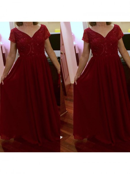A-Line/Princess V-neck Floor-Length Chiffon Mother Of The Bride Dresses
