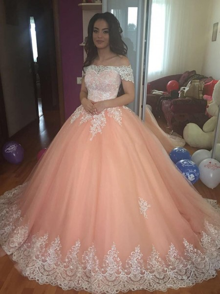 Ball Gown Sleeveless Off-the-Shoulder Court Train Tulle Lace Dress